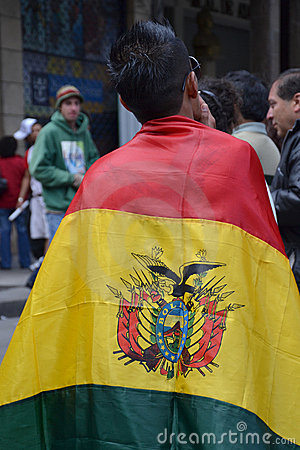 Protestor Wearing Bolivian Flag Editorial Photography