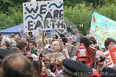 Protestos de Balcombe Fracking Fotografia Editorial