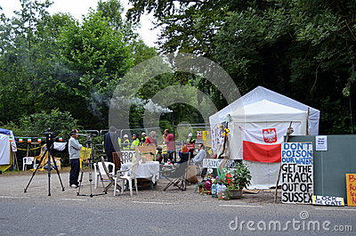 Protestos fracking de Balcombe Foto Editorial