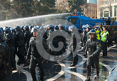 Water Cannon Showdown Editorial Photography