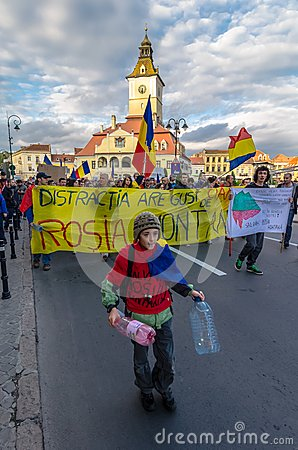 Protests for Rosia Montana Editorial Stock Photo