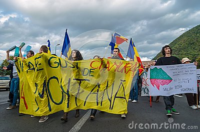 Protests for Rosia Montana Editorial Stock Image