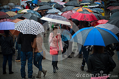 Protests in Spain Editorial Stock Image