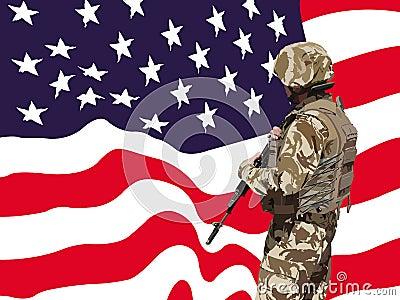Proud American soldier vector