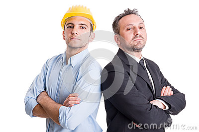 Proud engineer and business man back to back Stock Photo