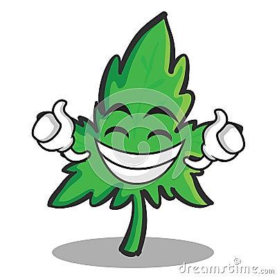 Proud face marijuana character cartoon Vector Illustration