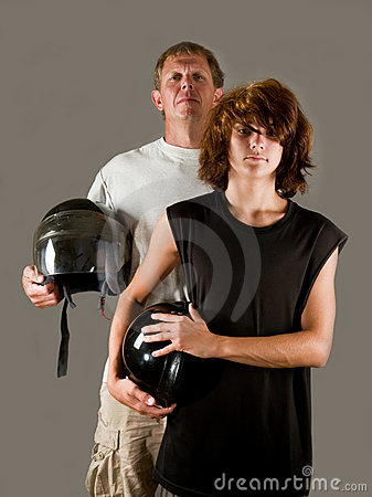 Proud father of teenage son - bikers