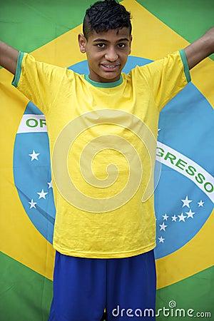 Proud Patriotic Young Brazilian Football Fan Holding Brazilian Flag