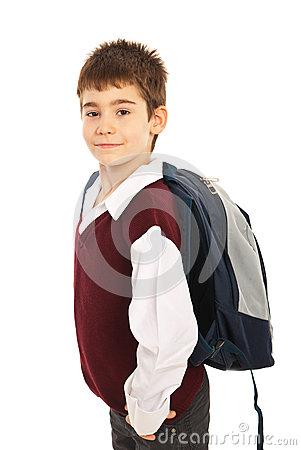 Proud schoolboy with bag