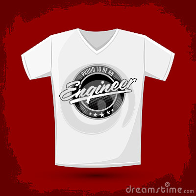Proud to be engineer, Graphic T- shirt design - emblem - silkscreen Vector Illustration