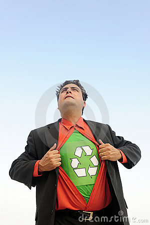 Free Proud To Recycle: Businessman Is A Recycling Hero Royalty Free Stock Photo - 14210025