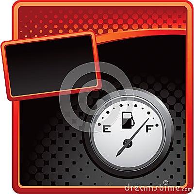 Provea de gas el calibrador en bandera de semitono roja y negra