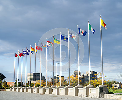 Provincial Flags of Provinces of Canada Editorial Stock Photo