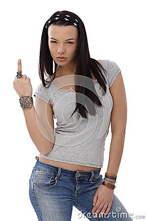 Provocative girl showing middle finger gesture