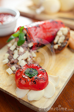 Provolone cheese and Stuffed Bell Pepper