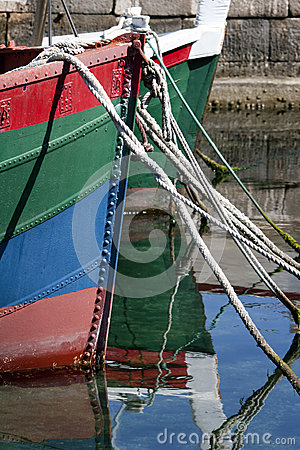 Prow of colored boats