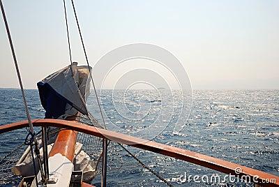 Prow of ship on sea