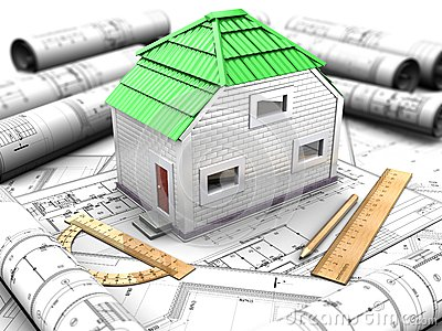 Proyecto de la casa con el modelo, tejado verde
