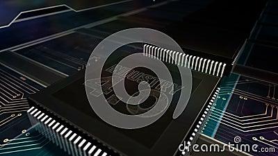 Prozessorfabrik mit Laserverbrennung in der Industrie 4 0 Zeichen vektor abbildung