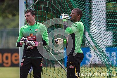 Prática dos guarda-redes de Bafana Bafana Foto de Stock Editorial
