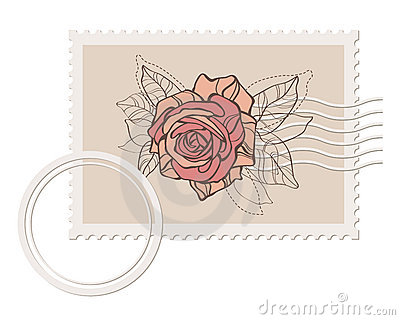Prvector blank post stamp with rose