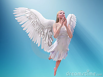 Prying white angel