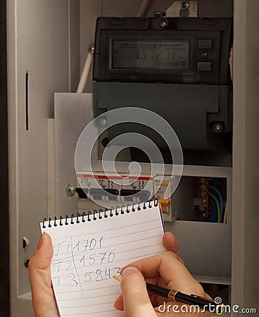 Przepisywanie elektryczni metrowi czytania