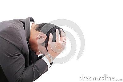Przygnębiony biznesowy mężczyzna