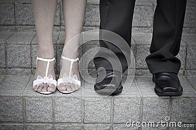Pés da noiva e do noivo
