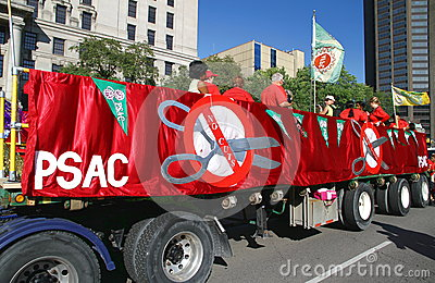 PSAC Union Truck and Banners Editorial Stock Photo