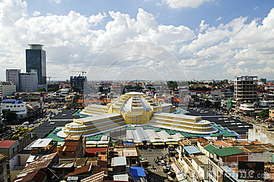 Psar thmei central market in phnom penh cambodia Editorial Stock Photo