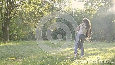 Psi Border collie skacze dla frisbee i dziewczyna treser łapie ona w powietrzu przy naturą zdjęcie wideo