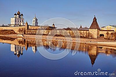 Pskov. Spring. The cathedral in river