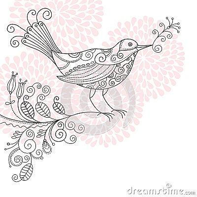 Pássaro com flores