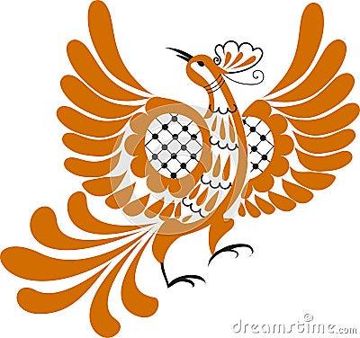 Pássaro fabuloso com adornado