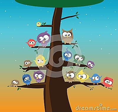 Pássaros em uma árvore