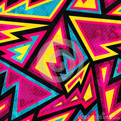 Psychedelic colored geometric seamless pattern Vector Illustration