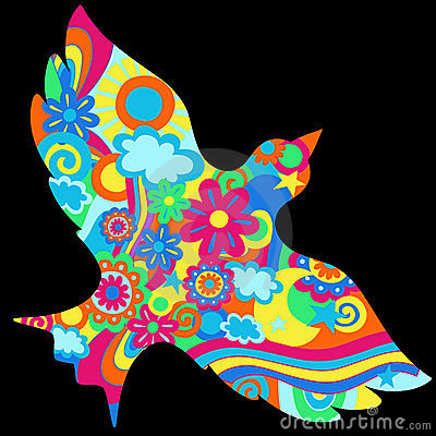 Psychedelic Dove Vector Illustration