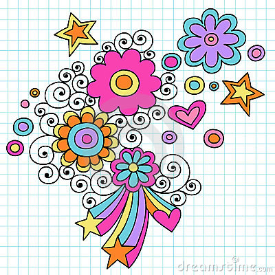 Psychedelic Flowers Notebook Doodle Vector