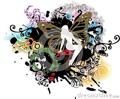 Psychedelic Grunge Fairy on Mushroom