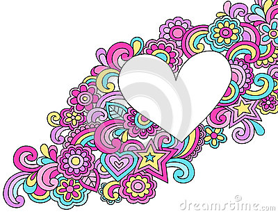 Psychedelic Heart Frame Doodle Vector