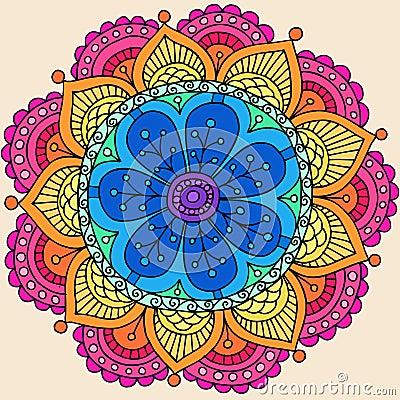 Psychedelic Henna Mandala Doodle Flower Vector
