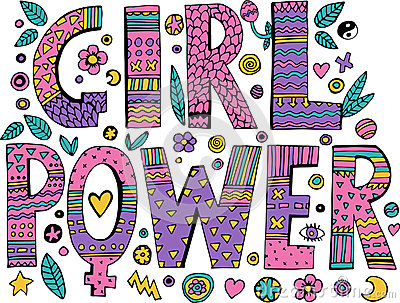 Psychedelic hippie Girl Power lettering Vector Illustration