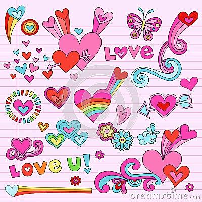 Psychedelic Love Heart Doodles Vector Set