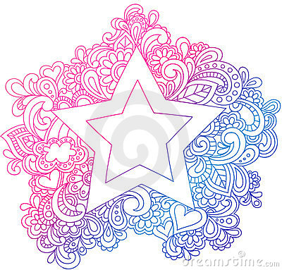 Psychedelic Outline Star Vector Illustration