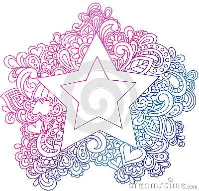 Psychedelic Outline Star Vector Illustration