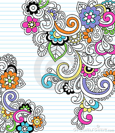 Free Psychedelic Paisley Notebook Doodle Vector Royalty Free Stock Image - 11949486