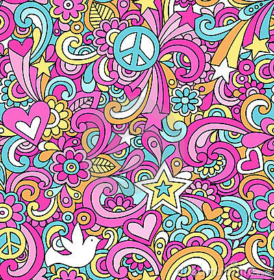 Psychedelic Peace Doodles Seamless Pattern