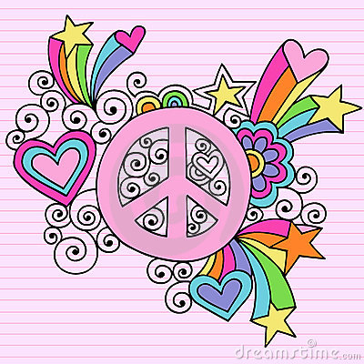 Psychedelic Peace Sign Notebook Doodle Vector