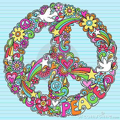 Psychedelic Peace Sign Notebook Doodles Vector